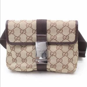 Authentic Gucci Waist Pouch Fanny Pack Canvas Bag
